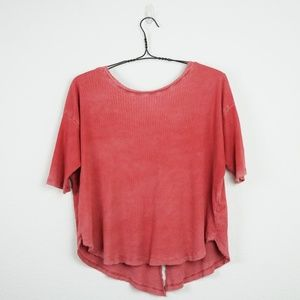 Free People 100% cotton 3/4 sleeve v-neck henley